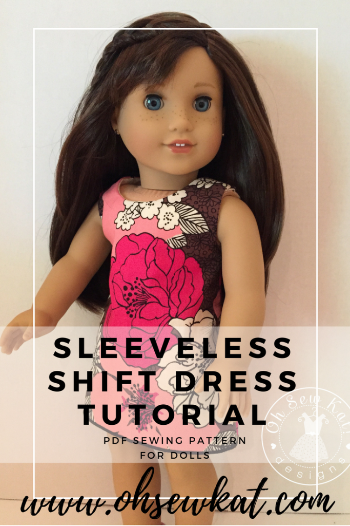 Sleeveless dress from Sunshine Dress Tutorial by Oh Sew Kat! Take a regular doll dress sewing pattern and learn how to make it without sleeves for more fashion options! #easytosew #patternhack #sewingpattern #18inchdolls #ohsewkat #easysewing #dollclothes