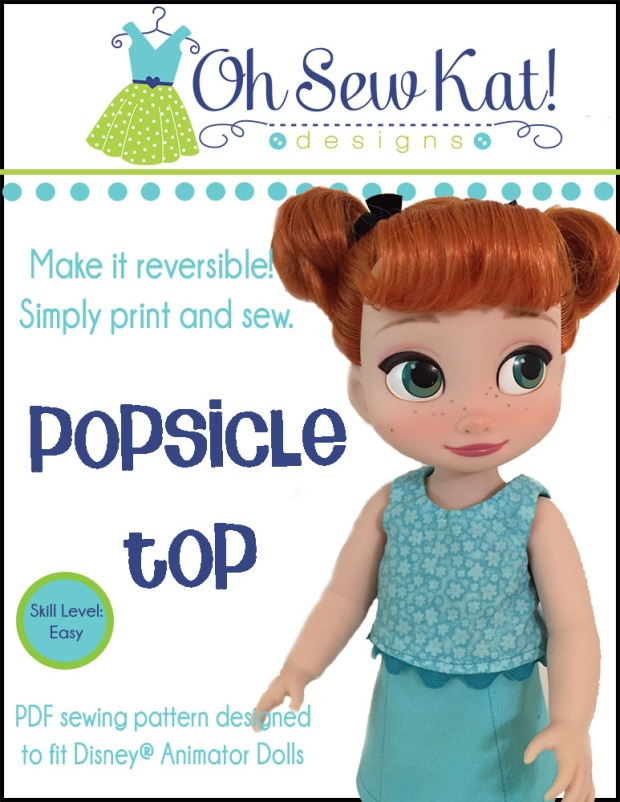 Make a cute, reversible tank top for your 18 inch doll with this easy sewing pattern from OhSewKat. Print at home PDF digital sewing patterns are easy beginner level tutorials to learn to sew.