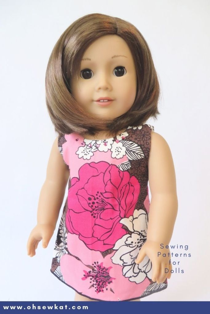Make a doll dress for your American Girl Doll with easy to sew PDF patterns and tutorials from the OhSewKat etsy shop.