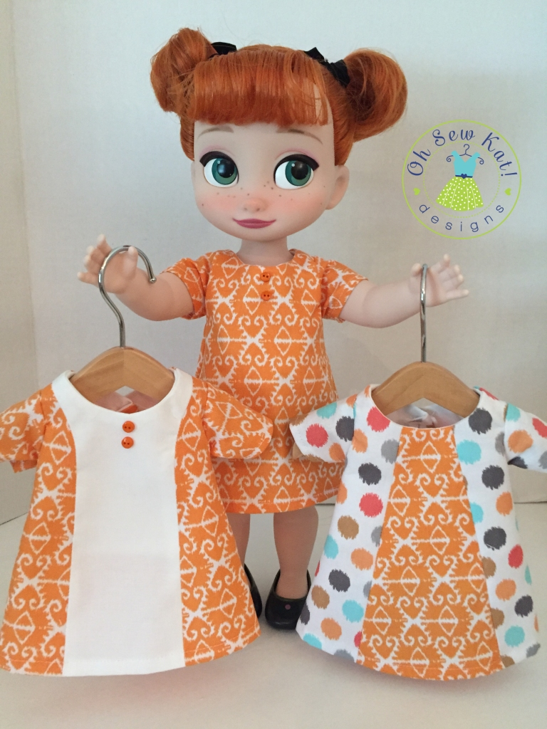 Sunshine Dress easy sewing pattern for beginners by Oh Sew Kat for animators dolls. #dollclothes #sewingpatterns