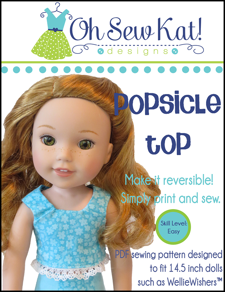 Popsicle Top PDF Sewing pattern for 14 inch dolls like Wellie Wishers and Glitter Girls. Easy sewing patterns to diy doll clothes from Oh Sew Kat!