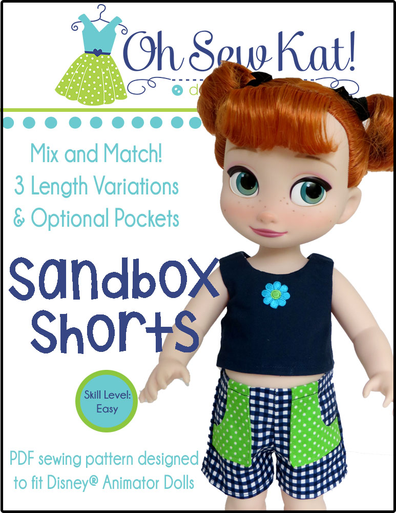 Sew easy shorts for your 16 inch animators princess dolls with the Sandbox Shorts easy sewing pattern from Oh Sew Kat! Find digital pdf sewing patterns to make doll clothes in my etsy shop.