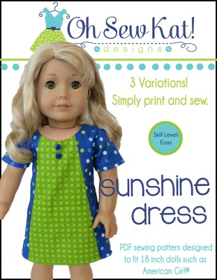 Sleeveless dress from Sunshine Dress Sewing Pattern by Oh Sew Kat! Sew a doll dress 3 with variations for more fashion options! #easytosew #sewingpattern #18inchdolls #ohsewkat #easysewing #dollclothes