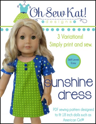 Sunshine Dress sewing pattern for 18 inch dolls
