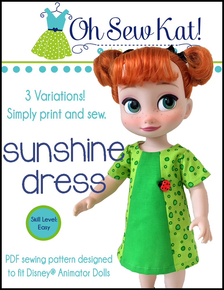 Make a dress for Disney Animators Dolls with this easy sewing pattern from Oh Sew Kat! #animators #dollclothes #sunshinedress