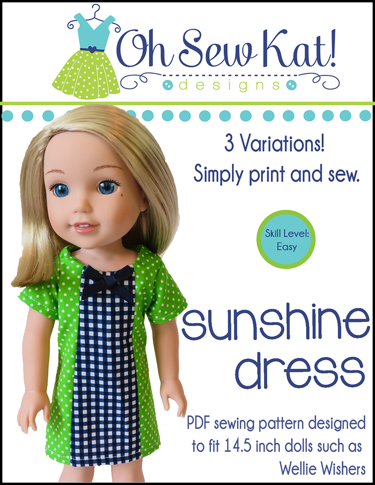 Wellie Wishers Doll sewing pattern Oh Sew Kat Sunshine Dress
