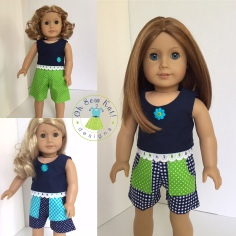 Make shorts for your 18 inch American girl doll with the Sandbox Shorts pattern by Oh Sew Kat! #dollclothes #sewingpatterns #18inchdolls #ohsewkat