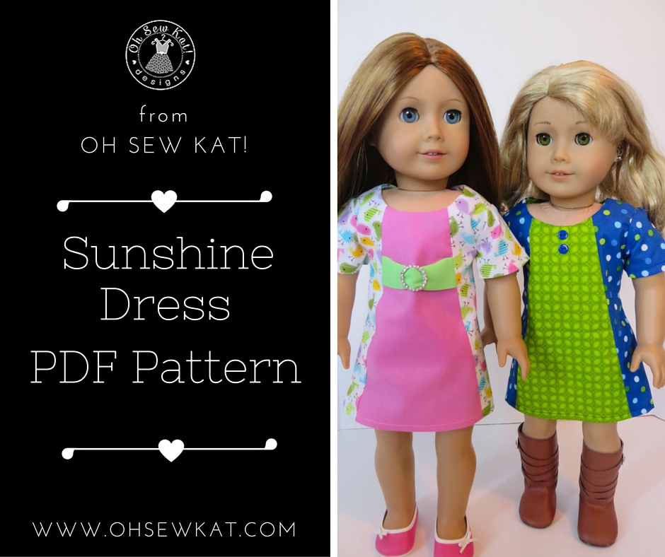 Doll clothes sewing patterns for american girl and welliewishers by oh sew kat- easy to sew print at home PDF sewing patterns for dolls- Sunshine Dress