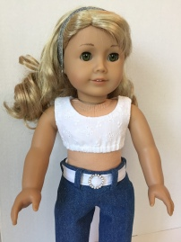Make a cute midriff crop top for 18 inch dolls with the easy Popsicle Top PDF sewing pattern by OhSewKat.