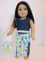Make a pair of pants for your 18 inch doll with easy sewing patterns by Oh sew kat! Digital pdf patterns for beginners. #dollclothes #sewingpattern #ohsewkat #pantspattern