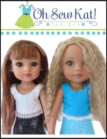 Make a skirt and top outfit for hearts for hearts dolls with easy sewing patterns by OH Sew Kat!