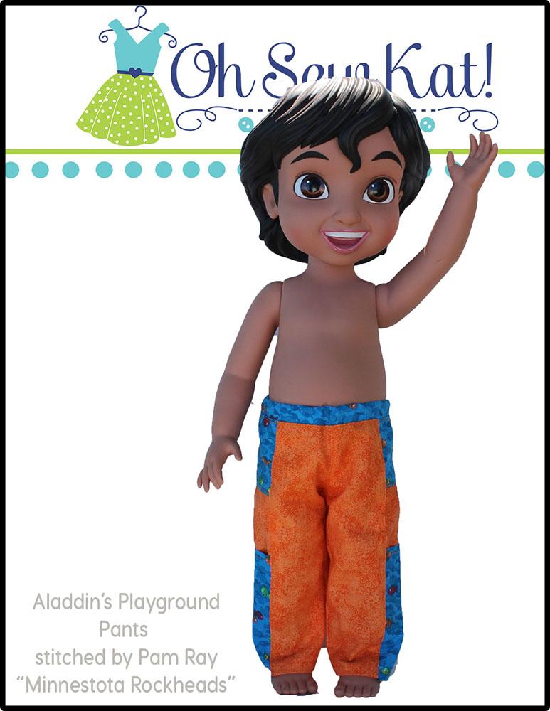 Easy animators doll clothes sewing pattern- Playground Pants by Oh Sew Kat! Digital PDF patterns for princess dolls. #princessdoll #pantspattern #ohsewkat #animators