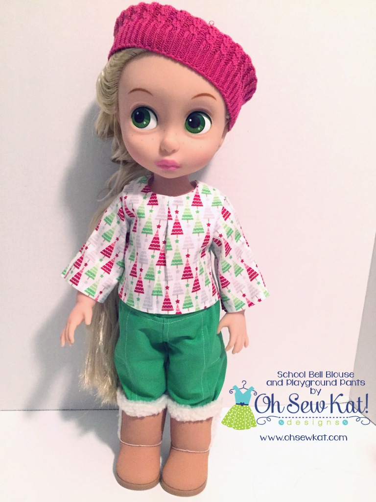 Make a pretty blouse for animators dolls with the School Bell Blouse easy sewing pattern from OhSewKat. #animators