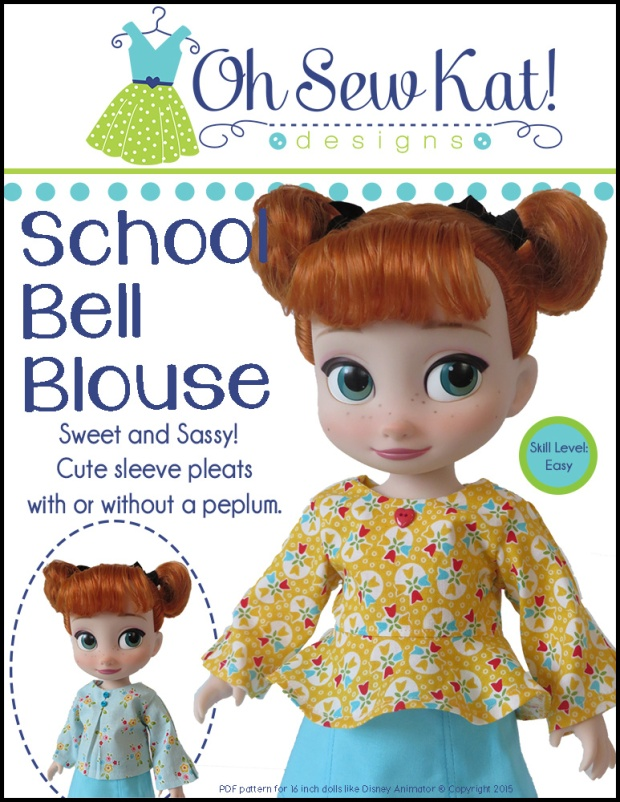 Animators Doll Clothes Sewing Pattern from OHSewKat. Easy to sew, beginner tutorial to make DIY doll clothes for 16 inch princess dolls.