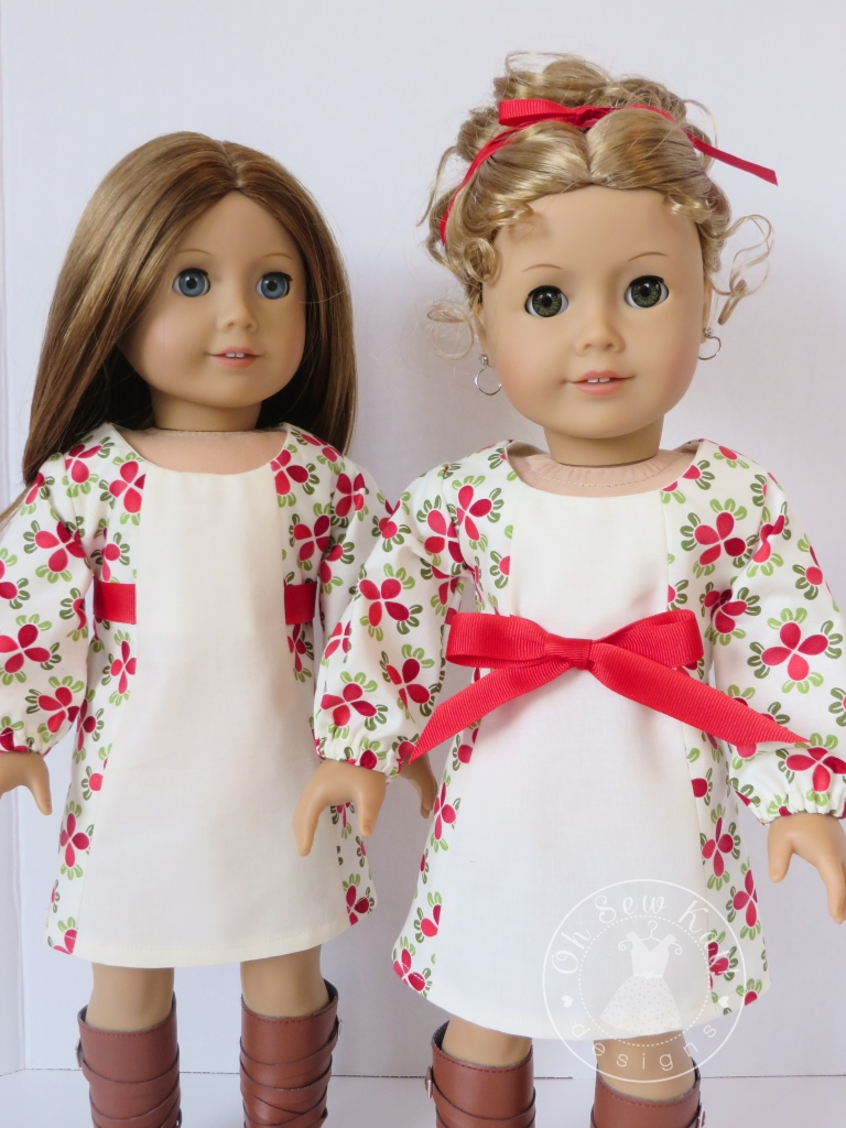 Make a holiday dress for your 18 inch doll with this easy School Dance Dress Sewing Pattern from OhSewKat! #dollclothes #sewingpattern #holidaydress #18inches