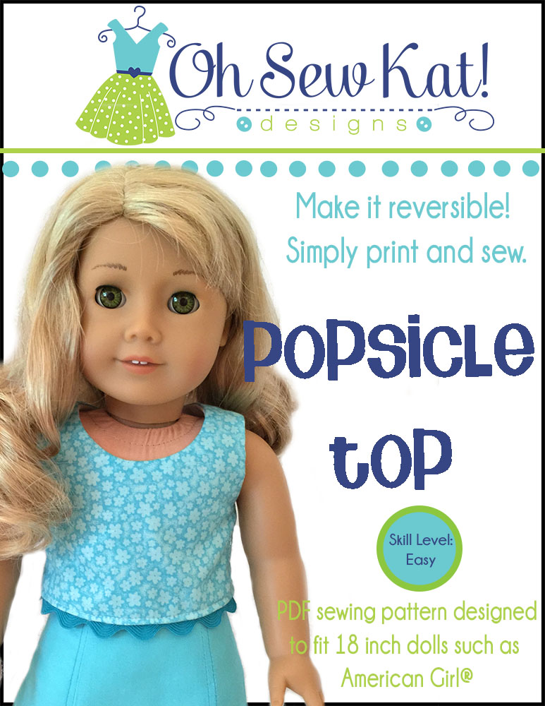 Sew a sleeveless tank top for American Girl dolls with the easy PDF Sewing Pattern, the Popsicle Top, from Oh Sew Kat!