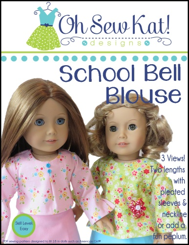 Easy sewing pattern for 18 inch dolls by Oh Sew Kat- the School Bell Blouse has two styles of tops with long bell sleeves. #18inchdoll #sewingpattern