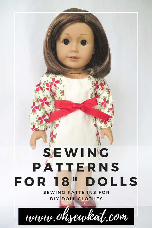 Make a holiday doll dress with easy sewing patterns for 18 inch and 14 inch dolls by Oh Sew Kat! Easy beginner patterns to DIY doll clothes like the School Dance Dress. #dolldress #holidaydress #christmas #18inchdoll #ohsewkat