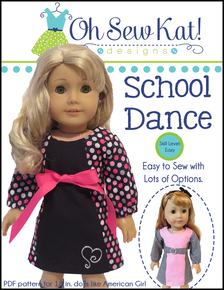 Oh Sew Kat! School Dance Dress PDF doll dress pattern- make your own 18 inch doll clothes with easy printable sewing patterns for dolls.