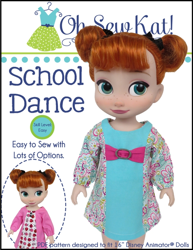 OhSewKat School Dance Dress for Disney Animator pdf doll dress sewing pattern