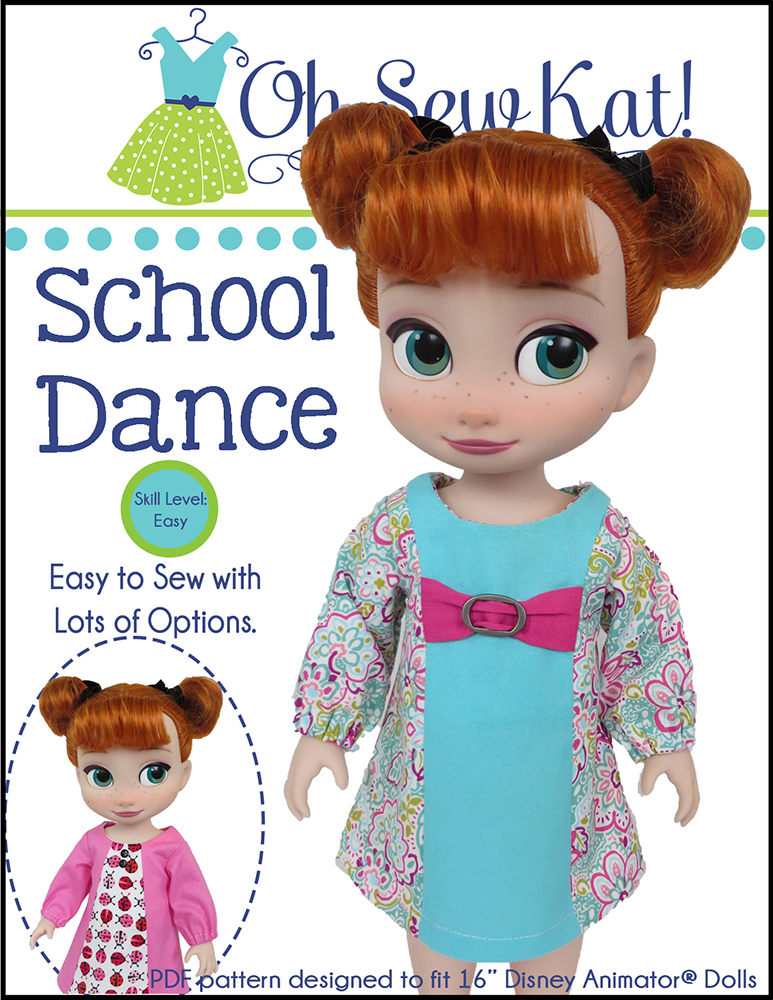 OhSewKat School Dance Dress for Disney Animator pdf doll dress sewing pattern.  Easy to sew, print at home PDF pattern for 16 inch dolls.