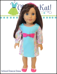 Doll dress sewing pattern for back to school outfits for your dolls. Easy beginner level pattern for 18 inch dolls like American Girl, Our Generation and more. Visit www.ohsewkat.com to try a free skirt pattern. #freesewingpattern #dollclothes #18inchdolls #ohsewkat