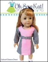 Make back to school dresses for your 18 inch dolls like American Girl and Our Generation with this easy dress sewing pattern from OhSewKat! This beginner level pattern can be made in an afternoon. #easydolldress #sewingpattern #dollpattern #ohsewkat