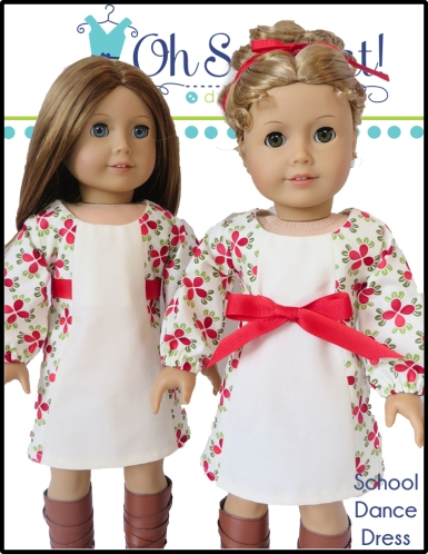 Make a School Dance Dress for your 18 inch doll with this easy, beginner digital sewing pattern from Oh Sew Kat! Easy and quick! Find more on the blog. #christmascrafts #holidaydress