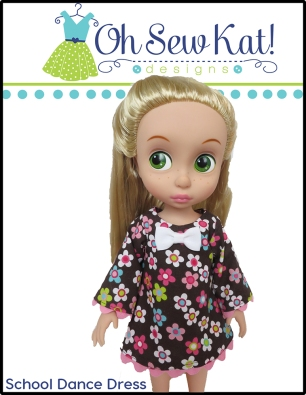 Oh Sew Kat! School Dance Dress for Disney Animator pdf doll dress sewing pattern