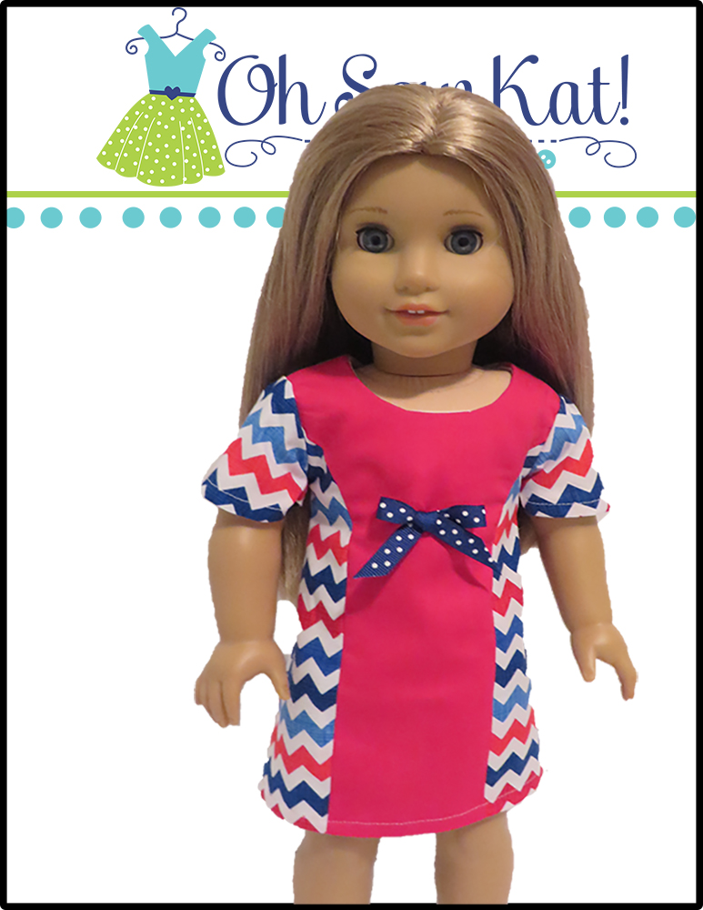 Make your own doll dress with this easy sewing pattern from Oh Sew Kat! The Sunshine Dress is quick and easy to sew for your dolls!