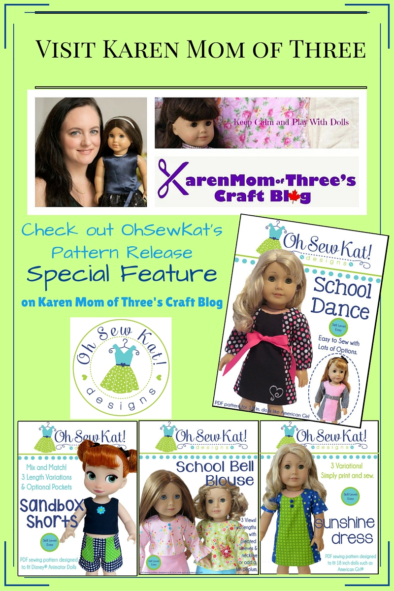 Oh Sew Kat! featured on Karenmomofthree blog.  Easy sewing patterns for dolls.