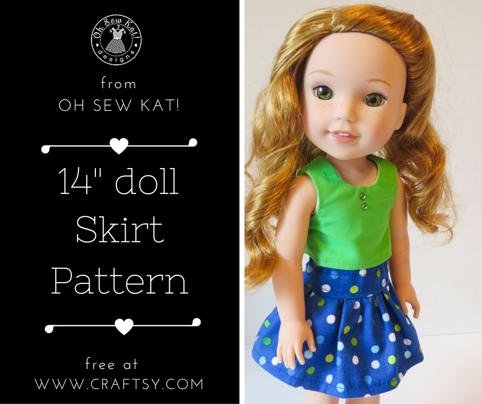 Free skirt pattern for 14.5 inch Wellie Wishers dolls from Oh Sew Kat! Find a full selection of PDF sewing patterns for dolls in my Etsy shop.