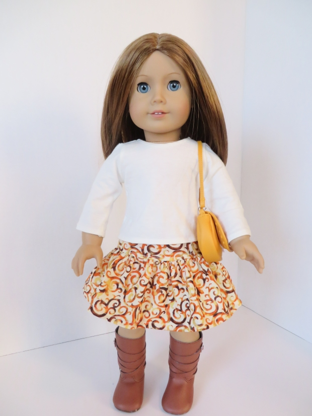 Find a free skirt pattern for 18 inch dolls, wellie wishers and Animators at ohsewkat.com.  Easy to sew PDF sewing patterns for Ameican Girl dolls by OH Sew Kat! #dollclothes #sewingpatterns