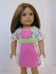 Make a dress for 18 inch dolls with this easy to follow print at home PDF sewing pattern by Oh Sew Kat! #easydress #dollclothes #sewingpattern #sunshine