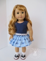 Find a free skirt sewing pattern for your 18 inch doll at ohsewkat.com. Other popular doll sewing patterns also available. #dollclothes #freepattern #ohsewkat