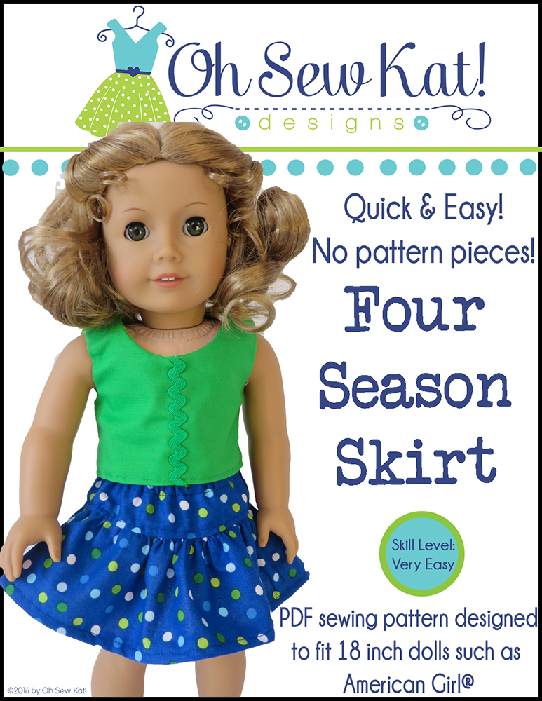 Free sewing pattern for dolls- Get the Four Season Skirt PDF pattern for Free at ohsewkat.com.