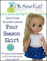 Oh Sew Kat doll skirt pattern Four Season Skirt animator