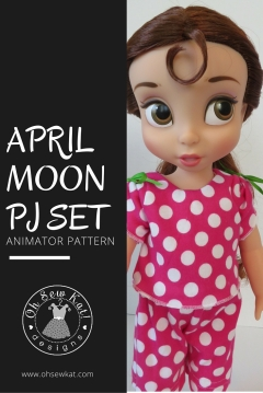 April Moon pajama pdf pattern for american girl and animator dolls