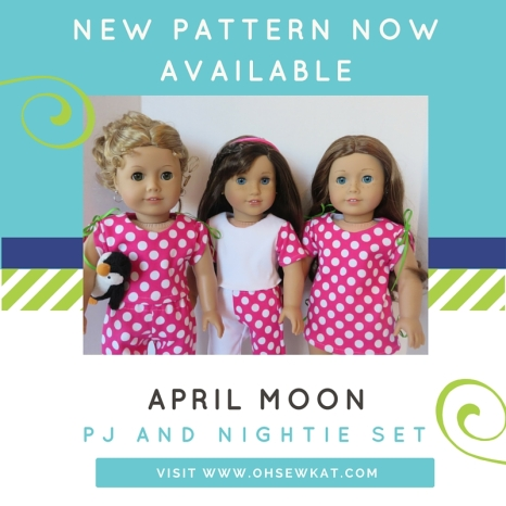 pajamas for dolls pdf sewing pattern from oh sew kat