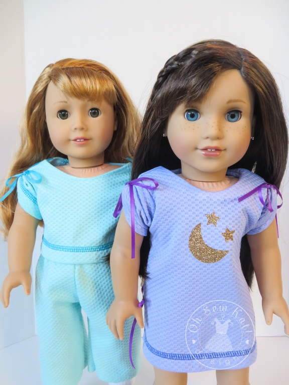 Make cute pajamas for your 18 inch American Girl doll with the easy April Moon sewing pattern from OhSewKat.