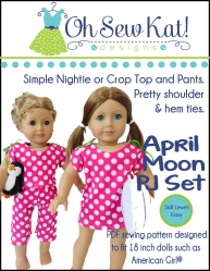 PDF Sewing pattern to make pajamas and nightshirt set for 18 inch dolls like American Girl from Oh Sew Kat!