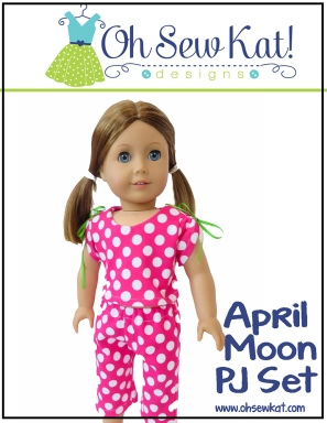 OhSewKat pajamas doll pattern PDF April Moon for dolls