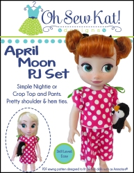 PDF Sewing pattern to make pajamas and nightshirt set for 16 inch dolls like Animators.  Easy doll sewing patterns from Oh Sew Kat!