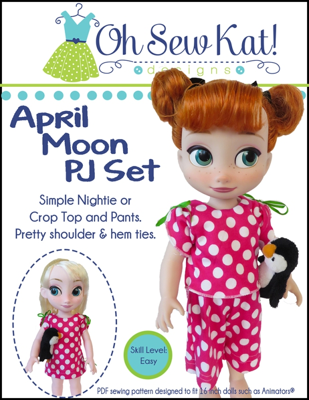 Make easy pajamas or a nightgown for your 16 inch animators princess doll with easy, print at home, sewing patterns from Oh Sew Kat!  #animators #dollclothes #sewingpatterns