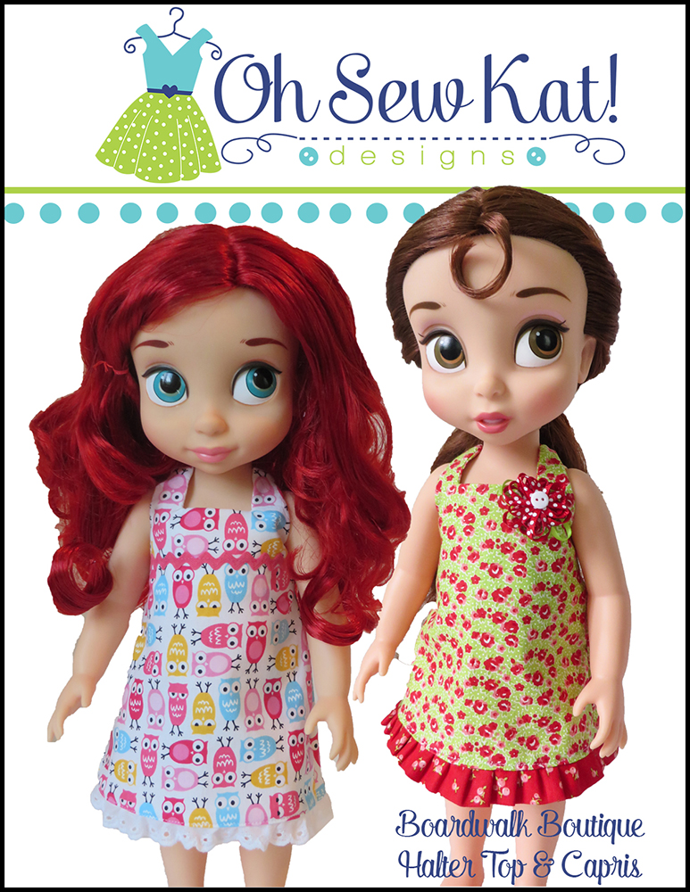 Sew a halter top and capri outfit or sundress for your animators and other sized dolls with a quick and easy sewing pattern from Oh Sew Kat! Print the pattern pieces on your home computer and make a doll outfit in about an hour. Find the patterns in my Etsy Shop.