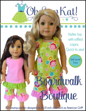 My favorite sewing pattern for 18 inch dolls! The Boardwalk Boutique pattern is quick and easy and perfect for beginning to sew for 18 inch dolls like American Girl and Welliewishers. #ohsewkat #easysewing #18inchdollpatterns