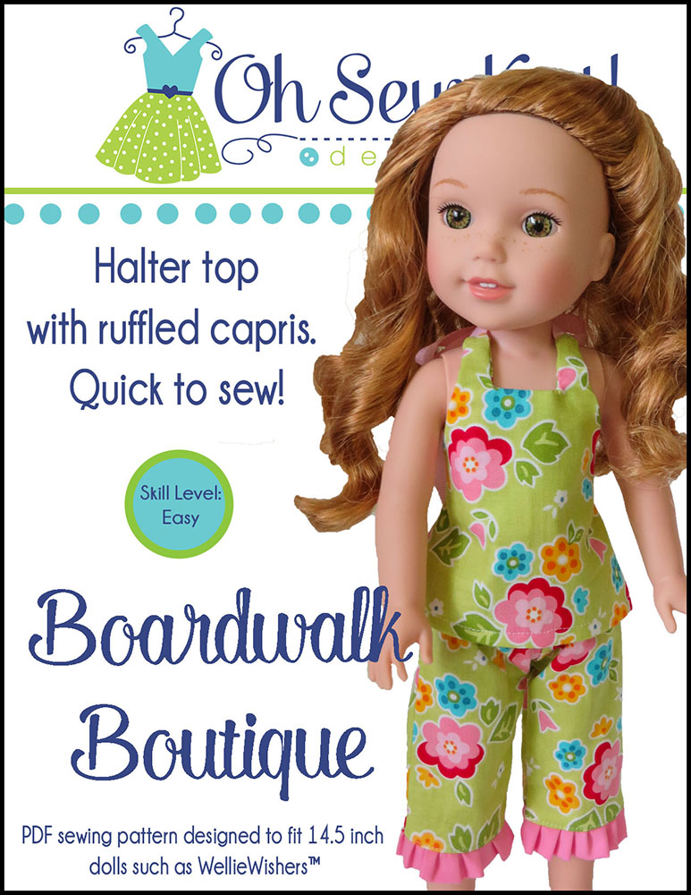 Make doll clothes for 14.5 inch dolls like Wellie Wishes and Glitter Girls with easy PDF sewing patterns from Oh Sew Kat! #welliewishers #dollpattern