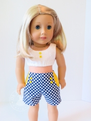 Put outside patch pockets on the inside with this doll clothes tutorial: Step it Up Series: Sandbox Shorts- move the outside pockets to the inside by Oh Sew Kat! Find more 18 inch doll clothes PDF digital patterns to DIY outfits for your American Girl sized dolls. #freesewingpattern #dollclothes #sewingpattern #ohsewkat #18inchdoll