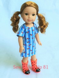 Make a simple summer dress for your 18 inch doll with the Sunshine Dress PDF Pattern from OhSewKat! Also available for 14 inch dolls like Wellie Wishers from American Girl. #dollclothes #sewingpattern #summerclothes #dolloutfit #sunshinedress #ohsewkat