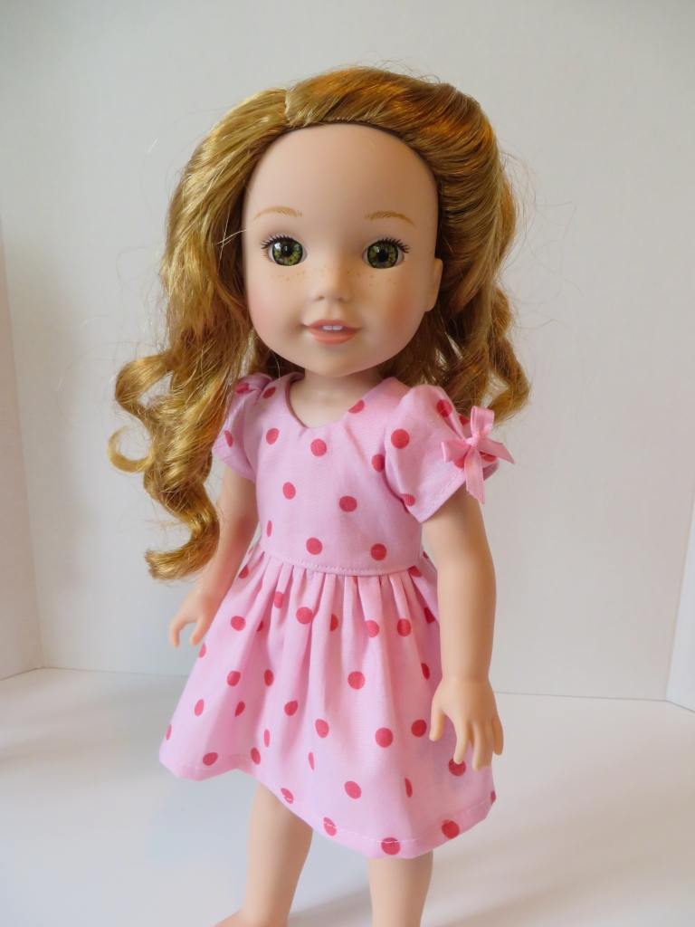 Make your welliewishers doll a cute dress with puffed sleeves with the PDF Sewing pattern:  Sugar n Spice from Oh Sew Kat!  Find easy to sew print at home PDF patterns for 14 through 18 inch dolls.